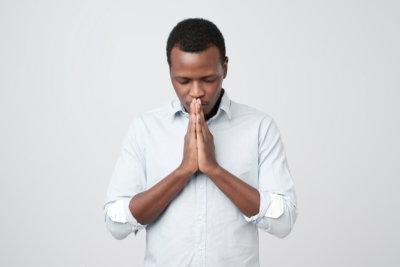 African american man praying